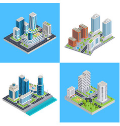 modern city isometric compositions vector image vector image