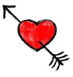 red arrow piercing heart vector image vector image