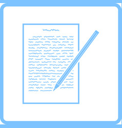 sheet with text and pencil icon vector image vector image