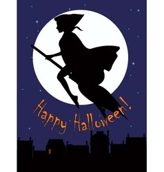 Witch on a broom sihlouette vector image vector image