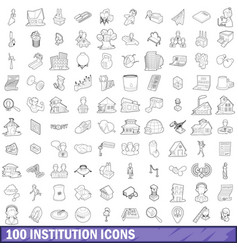 100 institution icons set outline style vector
