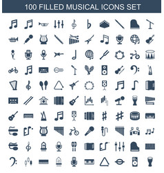 100 musical icons vector image
