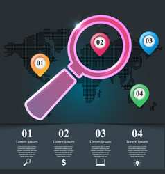 3d infographic lope pin maps icon vector