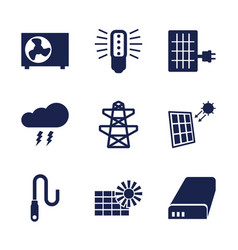 9 electricity icons vector