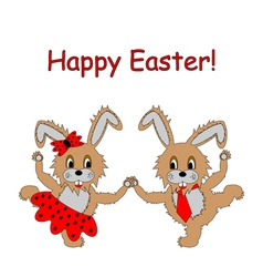 A couple of funny cartoon Easter rabbits vector image