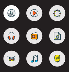 Audio icons colored line set with drum vinyl vector