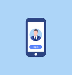 avatar man in phone login business concept in vector image