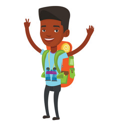 Backpacker with hands up celebrating success vector
