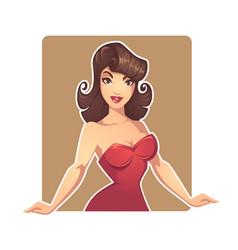 Beautiful cartoon pinup cartoon lady dealer for vector