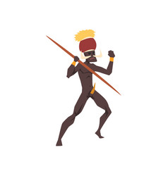 Black native man african tribe holding spear vector