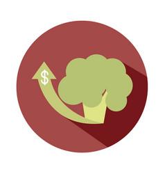broccoli vegetable up arrow market rising food vector image