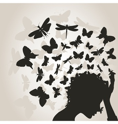 Butterflies from a head3 vector image