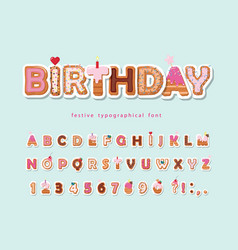 Cake cartoon font cute sweet alphabet vector
