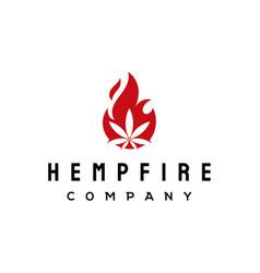 cannabis fire flame logo design inspiration vector image