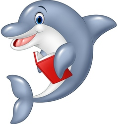 Cartoon dolphin holding book isolated vector image