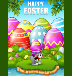 Cartoon easter bunny carrying easter eggs in the w vector
