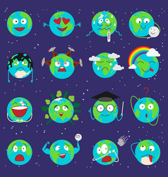cartoon globe earth emotion face character vector image