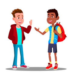 Caucasian boy and black boy greet each other vector