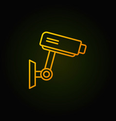 cctv yellow icon - camera concept line sign vector image