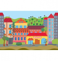 City cartoon seamless vector