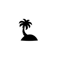 coconut tree beach logo design template black vector image