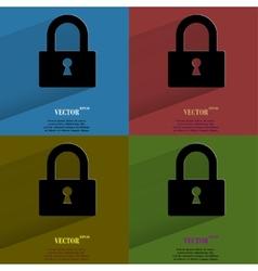 Color set padlock Flat modern web button with long vector image