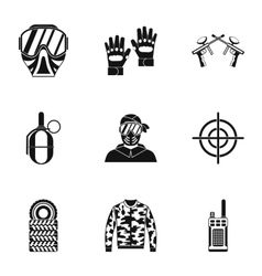 Competition paintball icons set simple style vector
