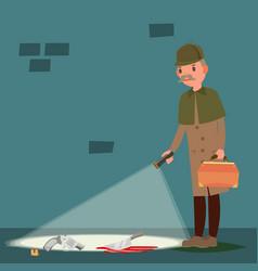 crime scene snoop shamus spotter flat vector image