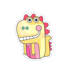 Cute dragon colorful cloth patch applique for vector