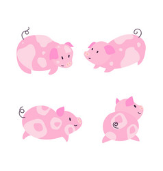 cute little pig characters set vector image