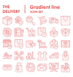 delivery flat icon set shipping symbols vector image
