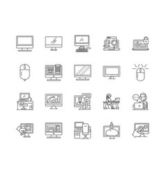 desktop computer line icons signs set vector image