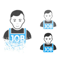 dissolving pixel halftone jobless icon with face vector image