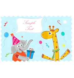 elephant wishing giraffe happy birthday vector image