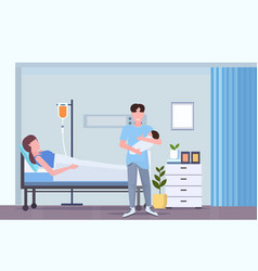father holding newborn baman visiting his wife vector image