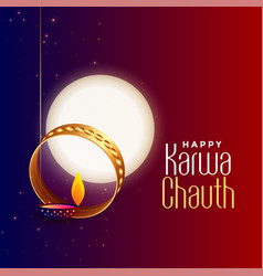 Festival card design for karwa chauth event vector