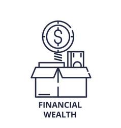 financial wealth line icon concept financial vector image