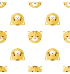 flat cartoon tiger heads seamless pattern vector image