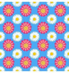 Flowers stylized gerbera chamomile seamless backgr vector