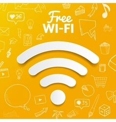 Free wi-fi signal on background with doodle vector