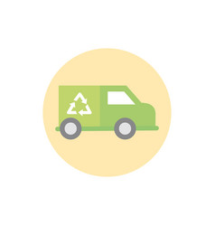 garbage truck recycle green energy block icon vector image