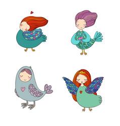 girl sirin mythological bird russian folklore vector image