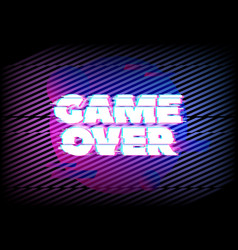 glitch effect for game over page background vector image