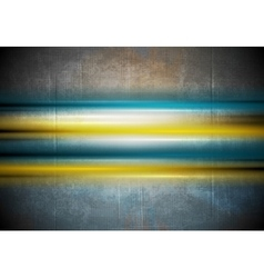 Glowing colorful stripes on grunge wall background vector
