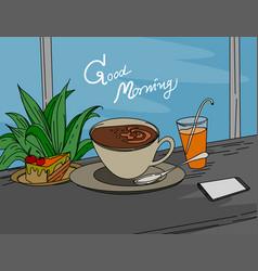 Good morning hot coffee vector