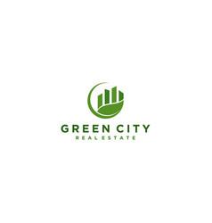 Green city logo design modern vector
