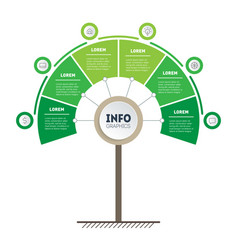 Green timeline or infographics tree of vector