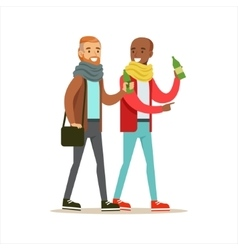 Happy Best Friends Having A Drink After Work vector