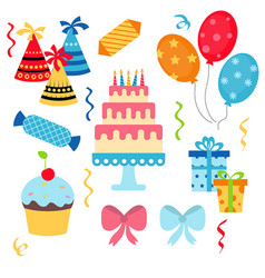 happy birthday icons set happy birthday icons set vector image