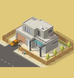 House building isometric icon villa with garden vector